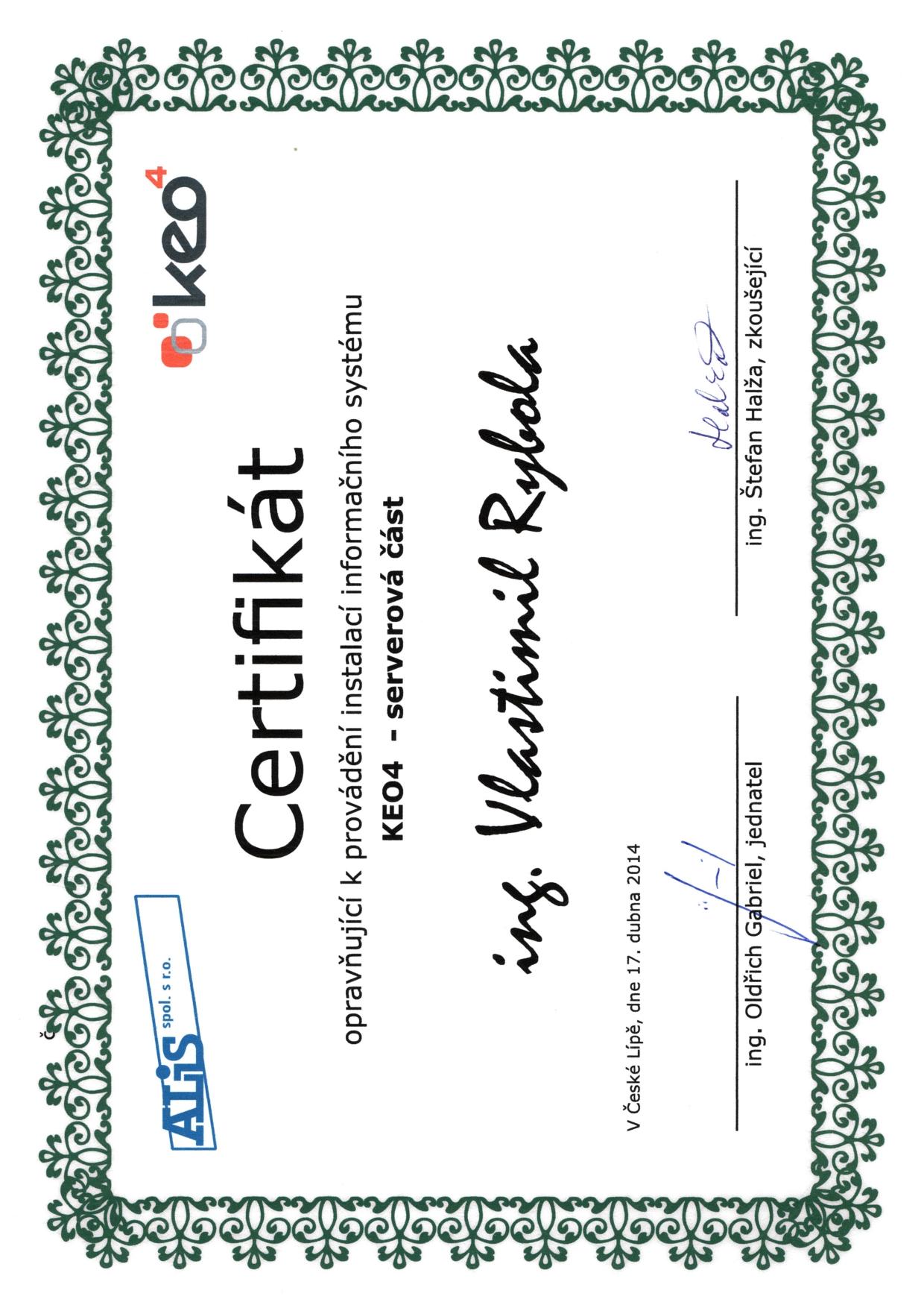 Certifikát  pro KEO4